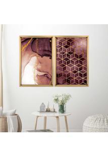 Quadro Com Moldura Chanfrada Abstratos Madeira Clara - Grande