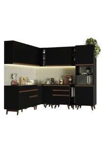 Cozinha Completa De Canto Madesa Reims 437001 Com Armário E Balcão Preto Preto