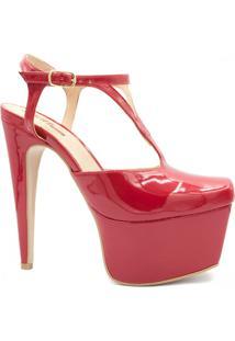 Sandália Zariff Shoes Salto Fino Fivela Vermelho
