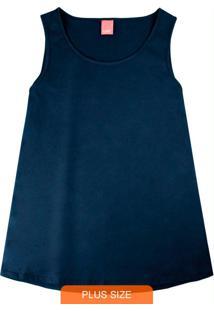 Blusa Azul Marinho Em Meia Malha