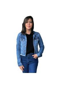 Jaqueta Feminina Curta Multi Ponto Denim Jeans