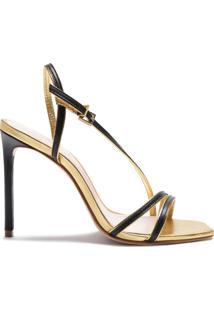 Sandália New Line Metallic Black Gold   Schutz