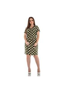 Vestido De Viscose Estampado Com Poá E Faixa Para Amarração Hadaza Verde