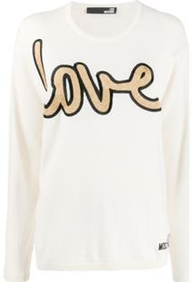 Love Moschino Suéter Com Bordado Love - Branco