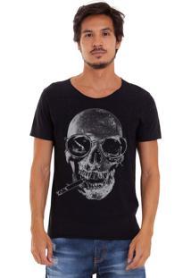 Camiseta Joss Estonada Corte À Fio Caveira Descolada Preta