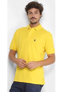 Camisa Polo U.S. Polo Assn Piquet Bordado Masculina - Masculino-Mostarda