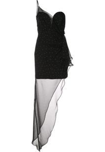 Michelle Mason Vestido De Festa Com Drapeado - Preto