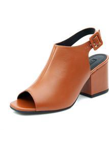 Ankle Boot Lia Line Em Couro Caramelo
