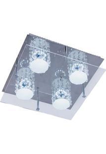 Plafon Glacial Cristal Led 32X32Cm 4X10W 220V Acrílico Jateado Com Cristais Bronzearte