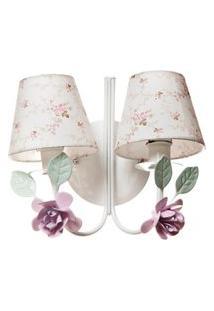 Arandela 2 Lâmpadas Flores Potinho De Mel Rosa
