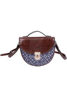 Bolsa Transversal Com Textura Croco - Marrom & Azul Marifellipe Krein