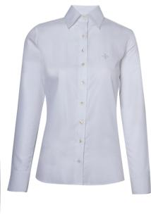 Camisa Dudalina Manga Longa Viés Feminina (Branco, 42)