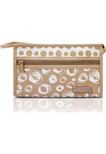 Necessaire Envelope Jacki Design Microfibra - Feminino-Bege