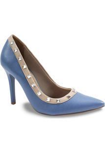 Sapato Scarpin Feminino Com Spikes Via Marte - Feminino-Azul