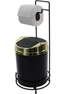 Suporte Para Papel Higiênico Preto Lixeira 5 Litros Basculante Dourada