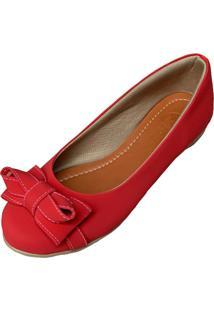 Sapatilha Likka Calçados Bico Redondo Vermelha - Kanui