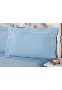 Fronha Premium Plumasul Percal 200 Fios Azure Azul - 50 Cm X 1,50 M