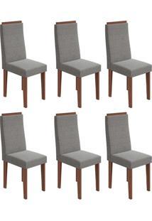 Conjunto Com 6 Cadeiras Dafne Imbuia E Cinza
