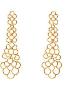 Par De Brincos Texturizados Banhado A Ouro- Dourado-Carolina Alcaide