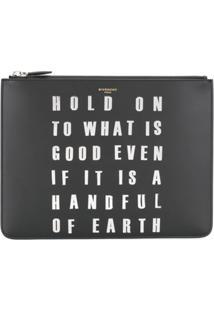 Givenchy Bolsa Carteira Com Slogan - Preto