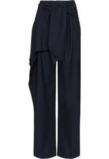 Chloé Calça De Flanela Com Amarração - Azul