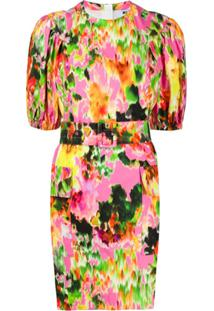Msgm Vestido Com Estampa Floral Abstrata E Cinto - Rosa
