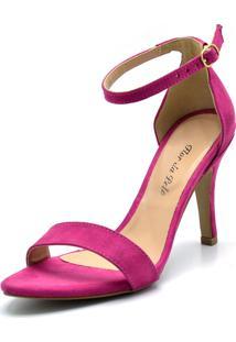 Sandália Salto Fino Flor Da Pele Pink