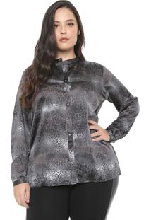 Camisa Gris Plus Animal Print Cinza
