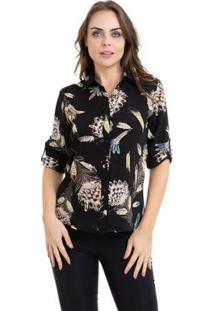 Camisa Kinara Crepe Manga Martingale Feminina - Feminino-Preto