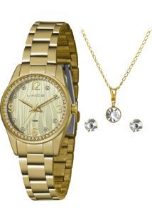 Relógio Lince Feminino Dourado Com Corrente E Par De Brincos Semijóia Lrg4669L-Kz88S2Kx