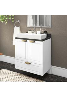 Gabinete / Balcão Banheiro Suspenso 2 Portas 1 Gavetão 100% Mdf Multimóveis Branco