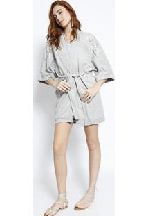 Kimono Em Moletom Com Bordado- Cinzalez A Lez
