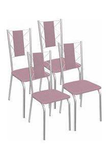 Kit 4 Cadeiras Lisboa Cromada Kappesberg 4C076 Salmão