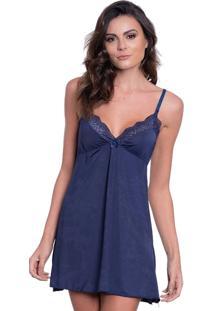 Camisola Click Chique Alã§A Detalhe Renda Azul - Azul - Feminino - Dafiti
