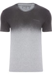 Camiseta Masculina Ckj Decote V Degrade Logo Peito - Preto