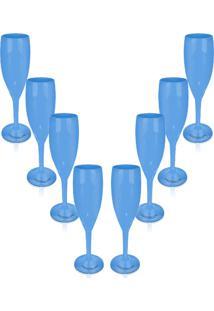 Kit 8 Taças Champagne 170Ml Azul Acrílico