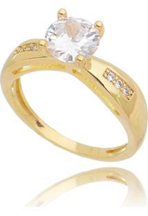 Anel Solitário Drusi Com Zirconias Cristal Dourado