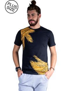 Camiseta Mister Fish Estampado Palmeiras Plus Size Preto