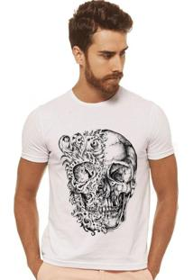 T-Shirt Joss Caveira Olho Flor Branca