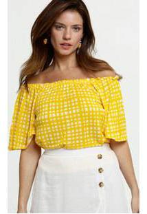 Blusa Feminina Ombro A Ombro Estampa Quadriculada Marisa