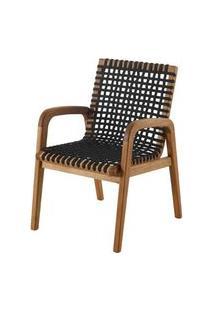 Cadeira Trama Com Braco Preta Estrutura Madeira Stain Jatoba - 56633 Preto
