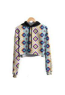Blusa Cropped Moletom Feminina Over Fame Tribal Asteca Md01
