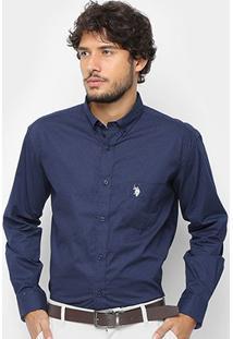 Camisa U.S. Polo Assn Manga Longa Poá Masculina - Masculino-Azul Navy