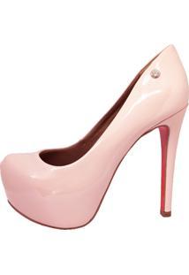 Scarpin Salto Alto Fino Meia Pata Interna Navio Solado Vermelho Le Bianco Glamour Rosa