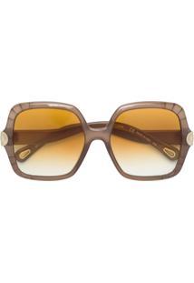 Chloé Eyewear Óculos De Sol Oversized - Neutro