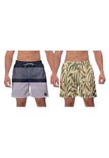 Kit 2 Shorts Moda Praia Folhagem Samambaia Cinza Bege Piscina Esporte Masculino Banho W2