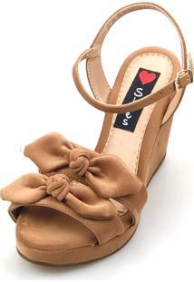 Sandália Anabela Love Shoes Alta Laçinhos Nobuck Caramelo