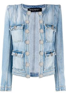Balmain Diamond Quilted Denim Jacket - Azul