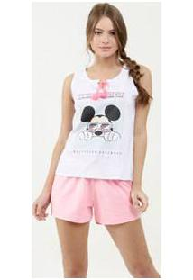 Pijama Feminino Estampa Mickey Glitter Sem Manga Disney