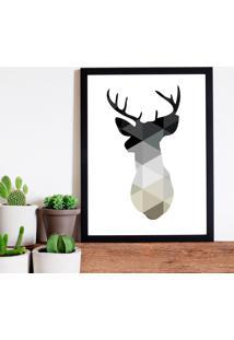 Quadro Decorativo Com Moldura Cervo Geométrico